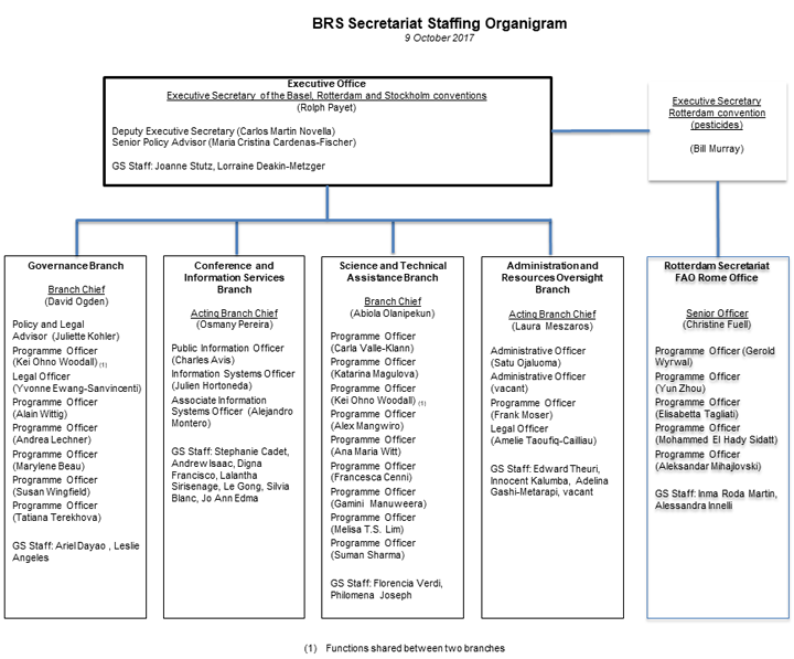 BRS staffing organigram as of 09 October 2017